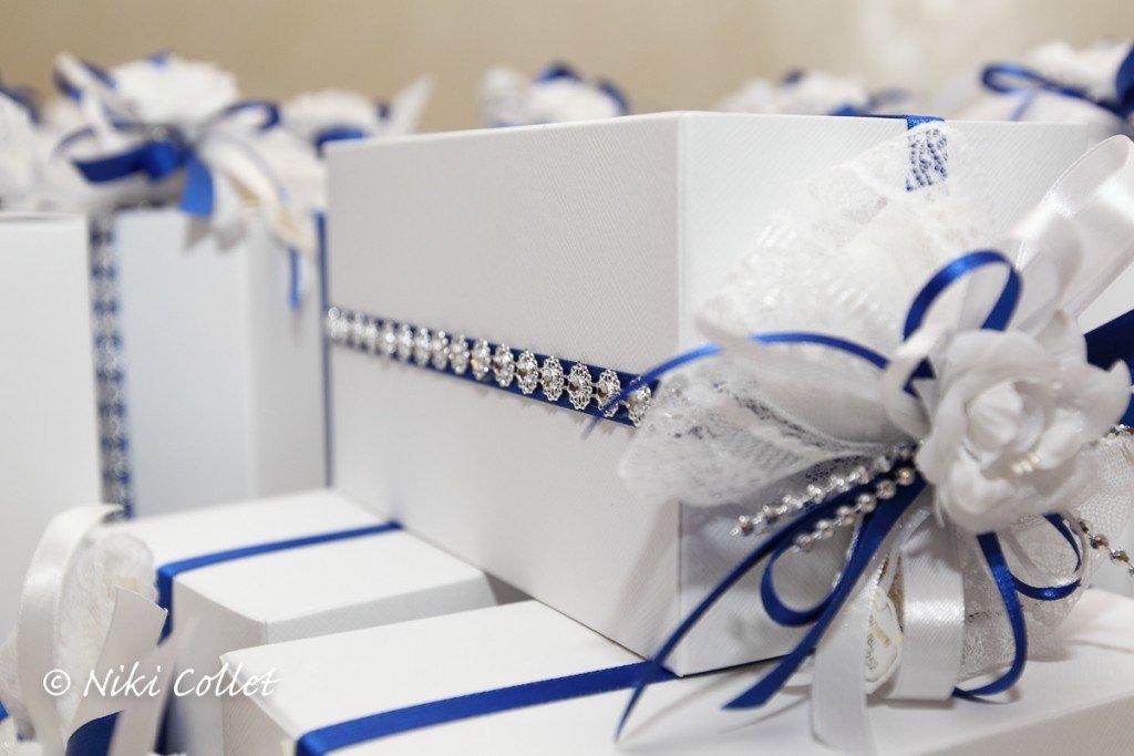 Bomboniere preziose e fiocchi blu