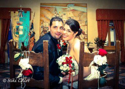 foto di matrimonio con bouquet