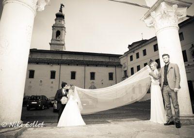 effetto in bianco e nero per sposi e abito matrimonio
